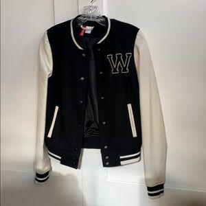 Black and white letterman jacket